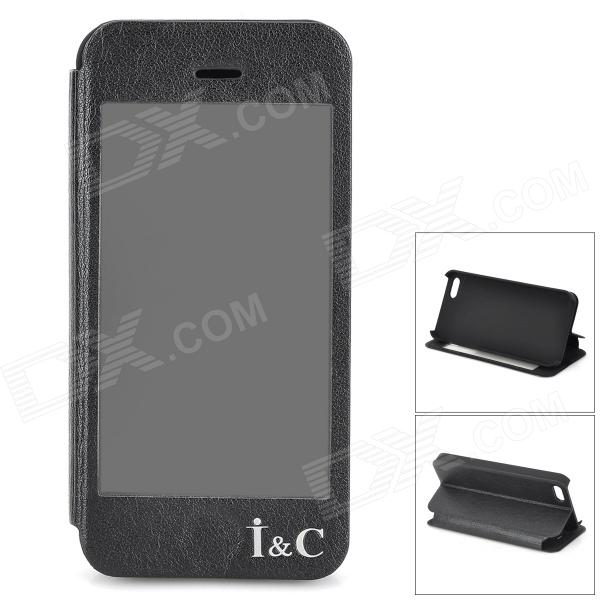 I C Protective Flip-open PU + PVC + Plastic Case w/ Touch Cover CID Window for IPHONE 5 / 5S - Black i c protective pu leather case stand w touch visual window cover for iphone 4 4s black