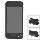 I C Protective Flip-open PU + PVC + Plastic Case w/ Touch Cover CID Window for IPHONE 5 / 5S - Black