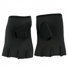 OUMILY Non-Slip Sports Cycling Half Finger Gloves - Black (Free Size / Pair)