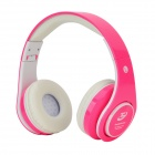 S-06 Fashion Multifunction Sports Headband Earphone w/ FM / TF - Deep Pink + White