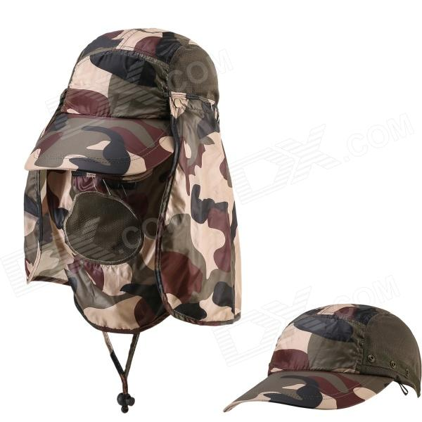 Outdoor UV Protection Cotton Large Brimmed Hat w/ Neck Protection / Removable - Camouflage summer can be folded anti uv sun hat sun protection for children to cover the sun with a large cap on the beach bike travel