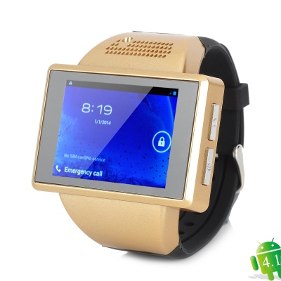GSM Android 4.1.1 Wrist Watch Phone w/ BT, Wi-Fi - Black + Golden