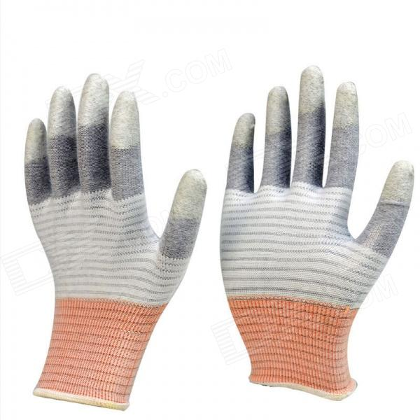 Galilee-pncg 100122 Dotted Carbon / PU Vest Reflective / Anti-static Gloves - White + Gray + Orange