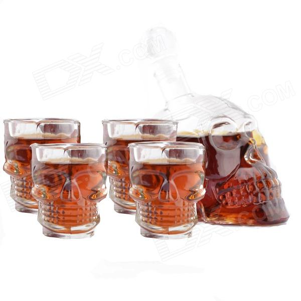 Crystal Head Vodka Skull Wine Bottle w/ Glasses Four-Pieces Set - Transparent oh my god it s electro house volume 4