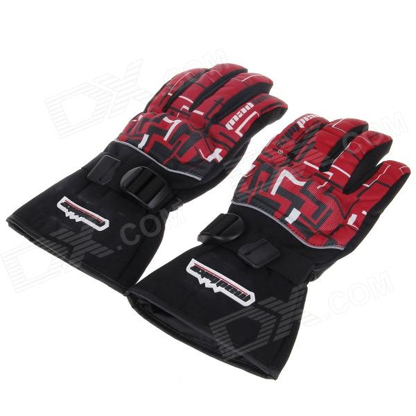MD-14 Stylish Waterproof Warm Motorcycle Racing Full Finger Protective Gloves - (Pair / Size-L) - DXMotorcycle Gloves<br>The motorcycle gloves combine with fashion practical in one has many functions such as anti-collision water-proof warm wind-proof and durable etc; Specially design for winter or heavy weather to use ; Other feature: The back of the gloves has beautiful printing pattern generous but stylish; Knuckles covered with plastic material to protect against injuries; Adjustable Velcro tape wrist for ideal fit and easy wearing; Abrasion resistant leather fabric used in the palm for durability; Wrist elastic design is more convenient to use ;Must-have gloves for safe motorcycle racing.<br>