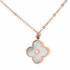 WS009 324L Stainless Steel Short-Length Necklace with Flower Pendant - Light Golden