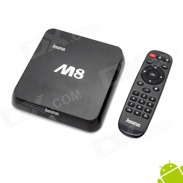 Jesurun M8 Quad-Core Android 4.4.2 Google TV Player w/ 2GB RAM, 8GB ROM, XBMC, NETFLIX, EU Plug - DXSmart TV Players<br>Color Black Built-in Memory / RAM 2GB Storage 8GB Plug Specifications EU Plug (2-Round-Pin Plug) Brand Jesurun Model M8 Quantity 1 Piece Material Plastic Shade Of Color Black Operating System Android 4.4.2 Chipset Amlogic S802 CPU Cortex-A9 Processor Frequency 96MHz-1992MHz GPU Mali 450 Menu Language EnglishFrenchGermanItalianSpanishPortugueseRussianVietnamesePolishGreekNorwegianDutchArabicTurkishJapaneseBahasa IndonesiaKoreanThaiHungarianLatinPersianMalaySlovakCzechGreekRomanianSwedishFinnishChinese SimplifiedChinese TraditionalBulgarianNorwegianHebrew RAM/Memory Type DDR3 SDRAM Max Extended Capacity 32GB Supports Card Type SD External HDD 2TB Wi-Fi IEEE 802.11 b/g/n Bluetooth Version V4.0 3G Function Yes Wireless Keyboard/Mouse 2.4GHz / 5GHz Audio Formats MP3WMAAPEFLACOGGAC3DTSAAC Video Formats RMRMVBAVIDIVXMKVMOVHDMOVMP4M4VPMPAVCFLVVOBMPGDATMPEGH.264MPEG1MPEG2MPEG4WMVTP Audio Codecs DTSAC3LPCMFLACHE-AAC Video Codecs MPEG-1MPEG-2MPEG-4H.264VC-1 Picture Formats JPEGBMPPNGGIFTIFFjps(3D)mpo(3D) Subtitle Formats MicroDVD [.sub]SubRip [.srt]Sub Station Alpha [.ssa]Sami [.smi]idx+subPGS Output Resolution 1080P HDMI 1.4 Audio Output HDMI AV Video Output HDMI AV USB USB 2.0 Other Interface 1 x Ethernet port 1 x Power port 2 x USB 2.0 ports 1 x SD card slot 1 x AV port 1 x OPTICAL 1 x HDMI Power Supply 100-240V APP Built-in XBMC Netflix Youtube Compatible Application FacebookYoutubeSkypeNetflixXBMCHulu Packing List 1 x Mini PC 1 x AC power charger (147cm) 1 x HDMI cable (120cm) 1 x Chinese / English user manual 1 x Remote controller (Powered by 2 x AAA not included)<br>