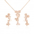 KCCHSTAR Four-Leaf Clover 18K-Gold Plating Zinc Alloy + Artificial Diamond  Necklace + Earrings Set