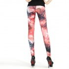 Galaxy Elonbo moda donna vita alta Sexy Leggings Stretchy collant pantaloni - nero + rosso