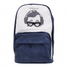 8003 Fashionable Glasses Pattern Canvas Personality Backpack - Blue + Black + White
