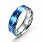 "EQute Fashionable Stainless Steel Zircon ""Forever Love"" Men's Ring - Blue + Silver (Size 8)"