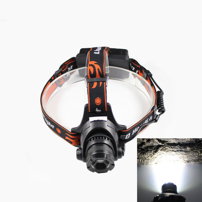 KINFIRE F11 LED 680lm 3-Mode White Zooming Headlamp - Black + Orange (2 x 18650) yp 3005 450lm 3 mode white zooming headlamp black 4 x aa