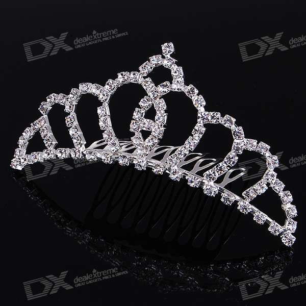 Silver Plated Alloy Crown Hairpin with Acrylic Diamonds
