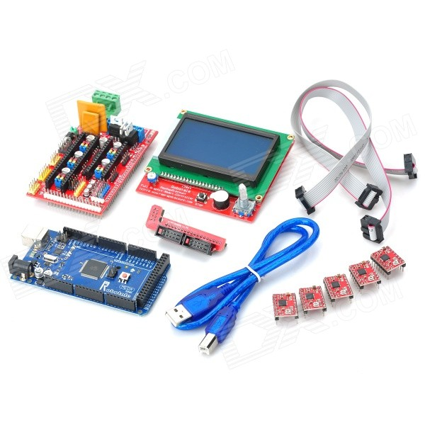 Robotale 3D RAMPS 1.4 3D Control Board Set (LCD12864 + 2560 r3 + 3D 1.4 + 4988) funduino 3d 2560 r3 main control panel 3d1 4 control board 4988 driver module set multicolored