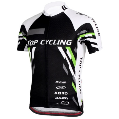 TOPCYCLING SAD209 Men's Outdoor Cycling Short Jersey Clothes - Black + White (Size M)