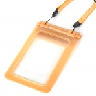 Protective Waterproof Rubber Pouch Bag w/ Strap for Cell Phones - Dark Yellow (S)