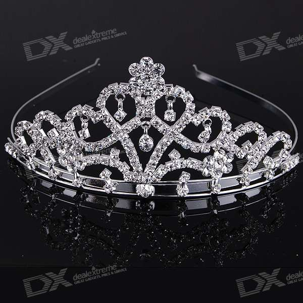 Silver Plated Alloy Crown with Acrylic Diamonds