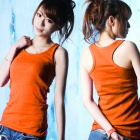 Casual Cotton I-Shaped Vest for Women - Orange (M)