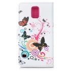Butterflies Pattern Flip-Open PU Leather Case w/ Stand for Samsung Galaxy S5 - White + Orange