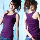 Casual Cotton I-Shaped Vest for Women - Purple (M)