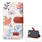 Retro Flip-Open PU Leather Case w/ Holder + Card Slot for Samsung Galaxy Note 3 - White + Light Blue