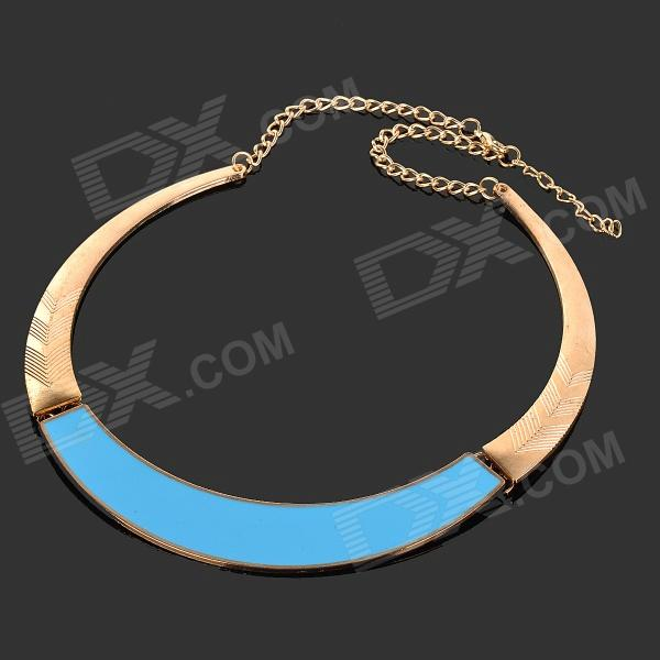 Fashionable Tribal Style Zinc Alloy Necklace - Golden + Blue