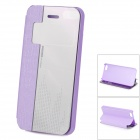 HELLO DEERE Protective PU Case w/ Stand + Auto Sleep for IPHONE 4G / 4S - Purple