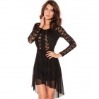 Sexy Crew Neck Sheer Lace See-Through Top Dress - Black