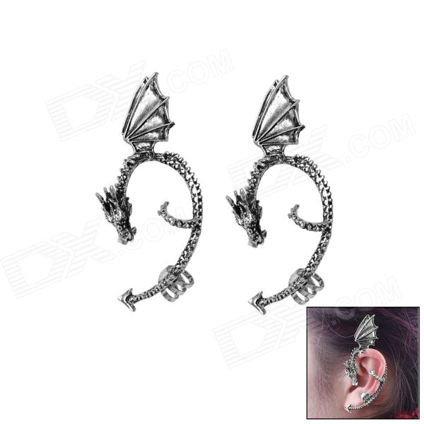 Dragon-shaped Zinc Alloy Ear Clip - Silver (Pair) the charmer