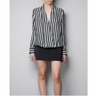 Stylish Women's Long Sleeve Shirt - Black + White (Size-M)