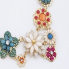 FENLU Fashionable Fluorescent Color Flower Women's Necklace - Multicolored