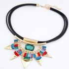 FENLU Fashionable Rhinestone Rivet PU Leather Lanyard Women's Necklace - Multicolored