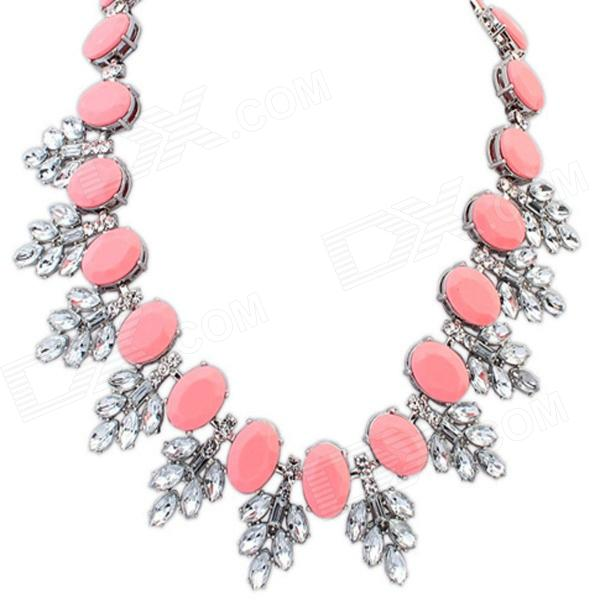 FENLU Fashionable Bohemia Women's Necklace - White + Deep Pink
