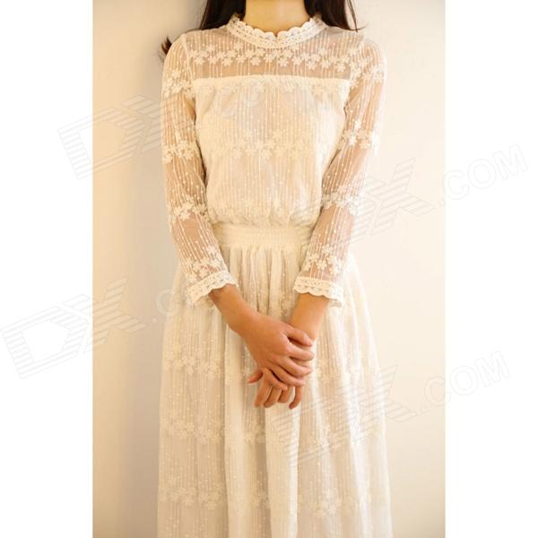 Pure White Lace Crochet Hollow out Tall Waist Dress - White (Free Size)