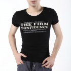 FENL P110-3 Men's Summer V-Neck Cotton Short Sleeve T-shirt Tee - Black (Size-S)