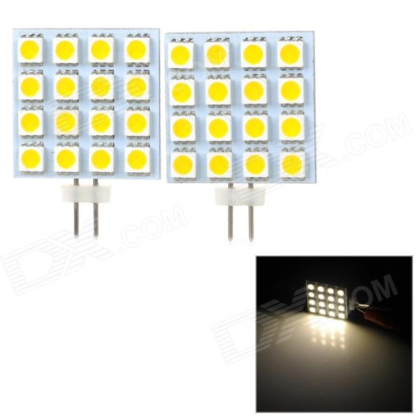 JRLED G4 3W 160lm 3300K 16-SMD 5050 LED Warm White Car Reading Lamps (DC 12V / 2 PCS) lx 3w 250lm 6500k white light 5050 smd led car reading lamp w lens electrodeless input 12 13 6v