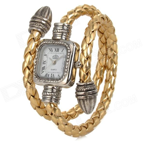 R068 Women's Analog Quartz Wrist Watch w/ Hide Rope Band - Yellow + Silver (1 x SR626S) fashion leather watches for women analog watches elegant casual major wristwatch clock small dial mini hot sale wholesale