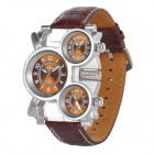 Oulm 1167 Men's Stylish 3-place Time Analog Quartz Wristwatch w/ Leather Band - Coffee (3 x 626)