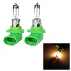 9005 12V 65W 700lm 3,000K Warm White Light Car Halogen Headlights - Green + Silver (2 PCS)