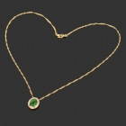 Retro Elegant Zircon Inlaid 18K Gold Plated Pendant Necklace - Golden + Green
