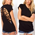 Female Hollow Laser Engraving Stencil Angel Wings Sexy Summer Tees /T-Shirt - L Size