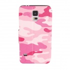 Elonbo J10D4 Protective PU Leather Case Cover Stand for Samsung Galaxy S5 - Pink + Deep Pink + White