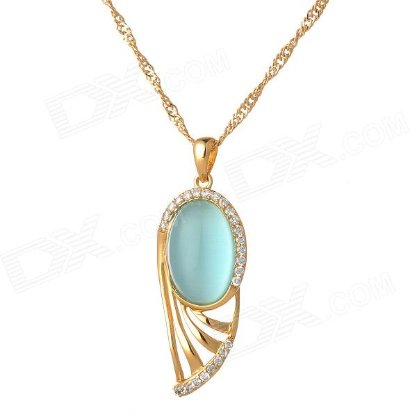 PH1595 Retro Elegant Zircon + Rhinestone Inlaid 18K Gold Plated Pendant Necklace - Golden + Blue cute mini guitar shaped gold plating white jade pendant necklace golden red