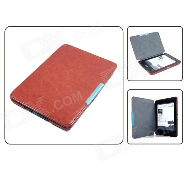 Adsorption Style R64 Pattern Protective PU Leather Case for Amazon Kindle Paperwhite - Light Brown smart kindle paperwhite case pu leather cover auto sleep wake for amazon kindle paperwhite 6 inch 1 2 3 6th 2012 2013 2015
