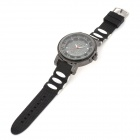 Fashionable Rome Style Analog Quartz Wrist Watch w/ Silicone Band - Black + Silver (1 x 626)
