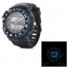 Quamer Q-1 Outdoor Sports Men's Dual-Movement Digital Wrist Watch - Black + Blue