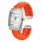 920 Women's Stylish Analog Quartz Bracelet Watch w/ PU Band - Orange + Iron Grey (1 x SR626SW)