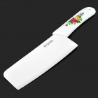 "Bestlead Durable 7"" Peony Pattern Zirconia Ceramics Kitchen Chopping Knife - White + Green"