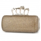 Fashion Skull Head Buckle Nightclub Party Clutch Hand Bag - Light Golden