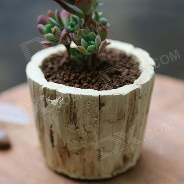 Cement Flowerpot w/ Bottom Hole - Wood